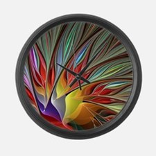 Fractal Bird of Paradise Large Wall Clock