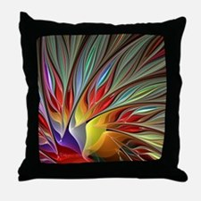 Fractal Bird of Paradise Throw Pillow
