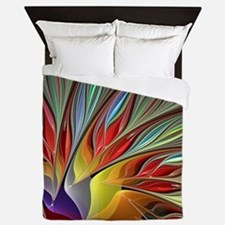 Fractal Bird of Paradise Queen Duvet