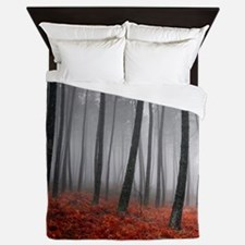 Black and Red Forest Queen Duvet