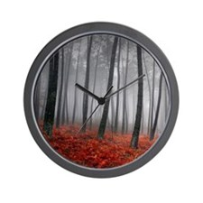 Black and Red Forest Wall Clock