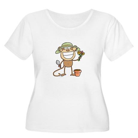 Gardening Monkey Women's Plus Size Scoop Neck T-Sh
