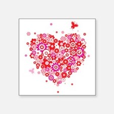"Valentines Day Flowers Square Sticker 3"" x 3"""