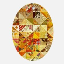 Fun Patchwork Quilt Oval Ornament