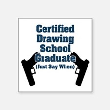 "Drawing School Graduate Square Sticker 3"" x 3"""