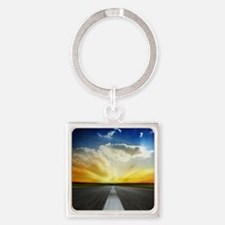 Open Road Square Keychain