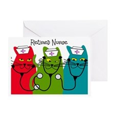 Retired Nurse Blanket CATS Greeting Card