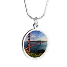 Golden Gate Bridge Silver Round Necklace