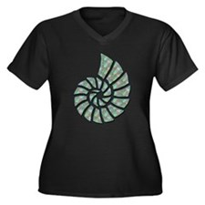 Green Nautilus Shell Women's Plus Size V-Neck Dark