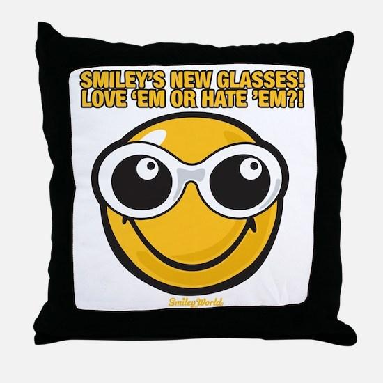 Glasses Smiley Throw Pillow