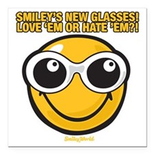 "Glasses Smiley Square Car Magnet 3"" x 3"""