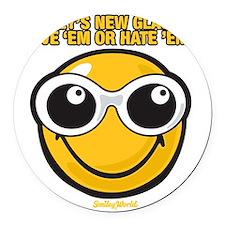 Glasses Smiley Round Car Magnet