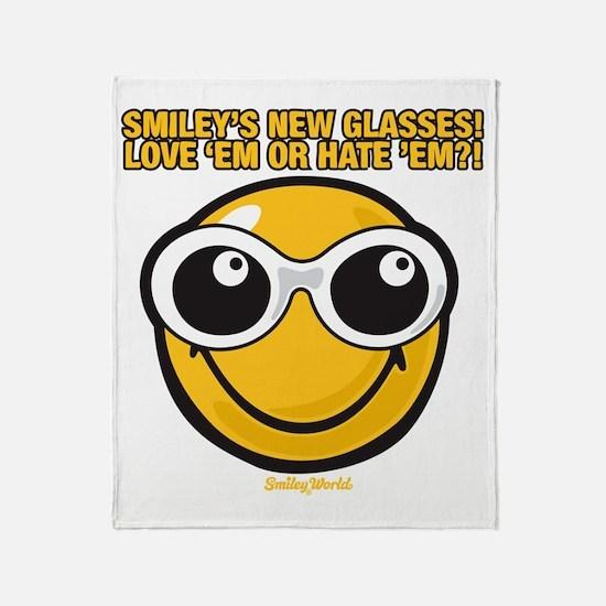 Glasses Smiley Throw Blanket