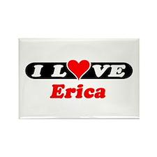 I Love Erica Rectangle Magnet