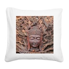Asian Woodcarving Square Canvas Pillow