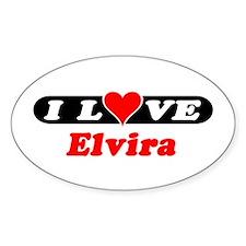 I Love Elvira Oval Decal