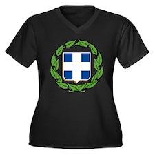 Greek Coat of Arms Women's Plus Size V-Neck Dark T