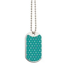 DotFlower_Teal_Large Dog Tags