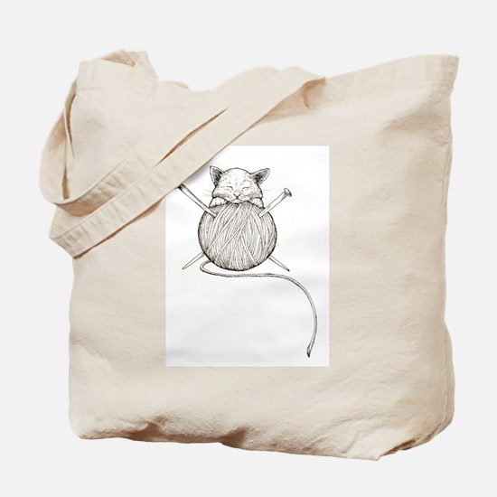 Funny Cat knitting Tote Bag