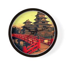 Pagoda with Bridge Wall Clock