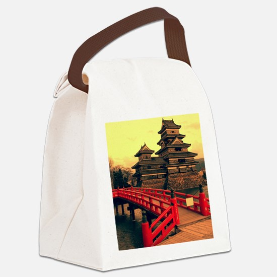 Pagoda with Bridge Canvas Lunch Bag