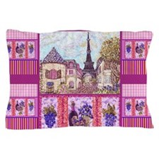 Eiffel Tower like art, wine and grapes Pillow Case