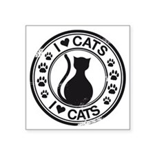 "i heart cats Square Sticker 3"" x 3"""