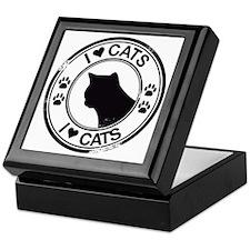 I heart Cats - cat silhouette Keepsake Box