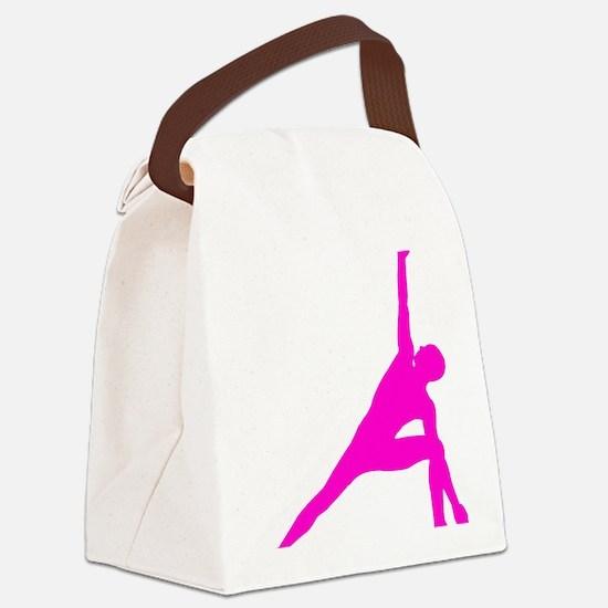 Bikram Yoga Triangle Pose in Pink Canvas Lunch Bag