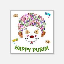 "Purim Clown Square Sticker 3"" x 3"""