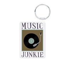 Music Junkie Aluminum Photo Keychain