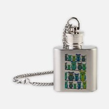 Cute Floral Owls Flask Necklace
