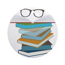 Stack Of Books Round Ornament