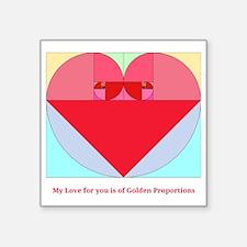 """Golden Ratio heart Square Sticker 3"""" x 3"""""""