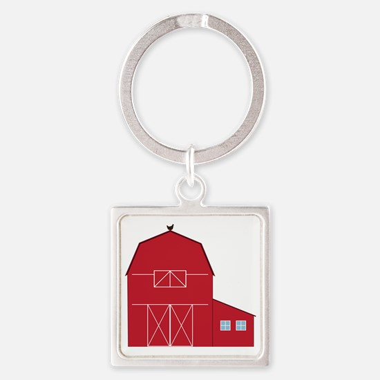 Red Barn Square Keychain