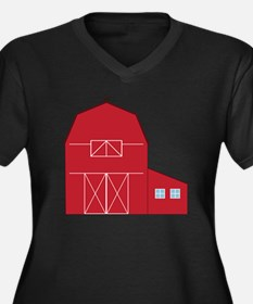 Red Barn Women's Plus Size Dark V-Neck T-Shirt