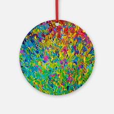 Rainbow Fields Round Ornament