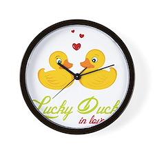 Lucky Ducks In Love Wall Clock