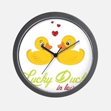 Lucky Ducks In Love Wall Clock