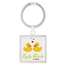 Lucky Ducks In Love Square Keychain