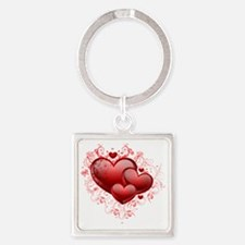 Floral Hearts Square Keychain