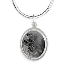 Portrait Charm Silver Oval Necklace