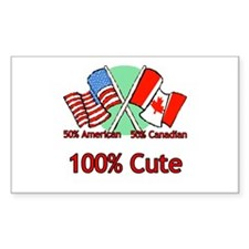 Canadian American 100% Cute Rectangle Decal