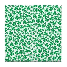 Four Leaf Clover - St Patricks Day Tile Coaster