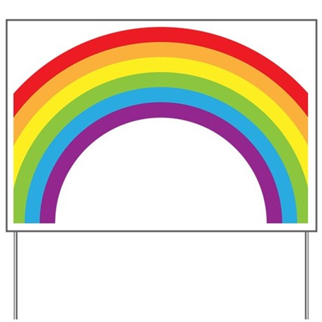 Cool retro graphic rainbow design Yard Sign