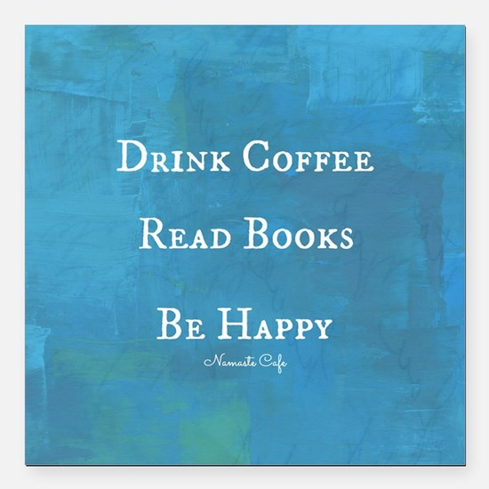 """Drink Coffee, Read Books Square Car Magnet 3"""" x 3"""""""