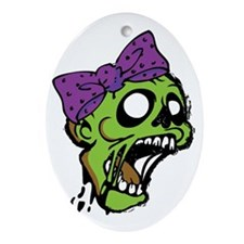 Zombie Bow Oval Ornament