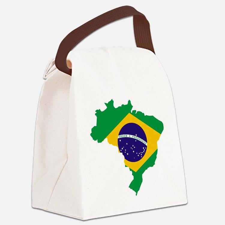 Brasil Flag Map Canvas Lunch Bag