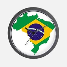 Brasil Flag Map Wall Clock