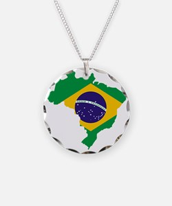 Brasil Flag Map Necklace